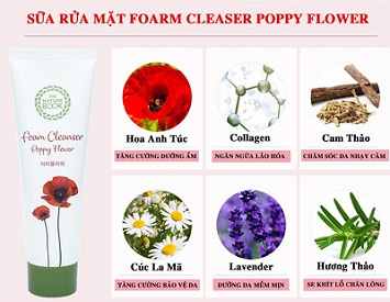 Sữa rửa mặt The Nature Book Foam Cleanser Poppy Flower